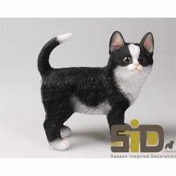 Dierenbeeld kat/poes zwart/wit staand 20