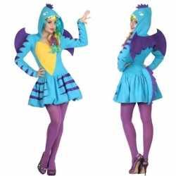 Dierenpak blauwe draak verkleed kostuum/jurk dames
