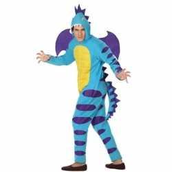 Dierenpak blauwe draak verkleedkostuum volwassenen