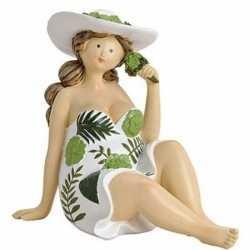 Dikke dame beeldje groen/wit jurkje 15
