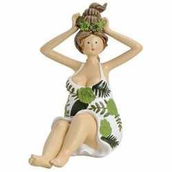Dikke dame beeldje groen/wit jurkje 16