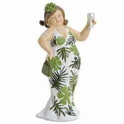 Dikke dame beeldje groen/wit jurkje 21