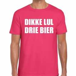 Dikke lul drie bier tekst t shirt roze heren