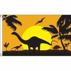 Dinosauriers/dino thema vlag 90 bij 150