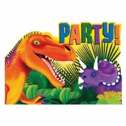 Dinosaurus feest uitnodigingen 16 stuks