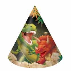 Dinosaurus feesthoedjes 8 stuks