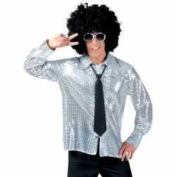 Disco pailletten blouse zilver heren