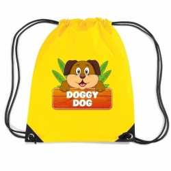Doggy dog de hond rugtas / gymtas geel kinderen
