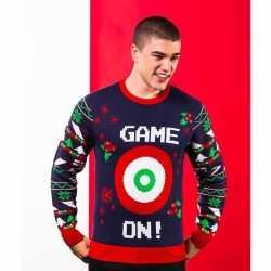 Donkerblauwe kerst trui game on heren