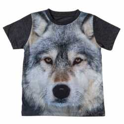 Donkergrijs t shirt wolf kinderen