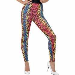 Eighties legging neon luipaard print