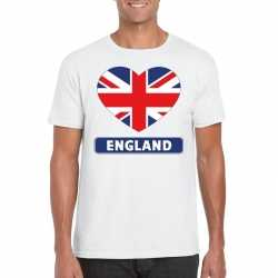 Engeland hart vlag t shirt wit heren
