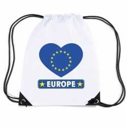 Europa hart vlag nylon rugzak wit