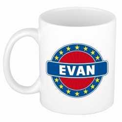 Evan naam koffie mok / beker 300 ml