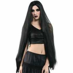 Extreem lange pruik zwart haar