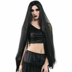Extreem lange zwarte heksen pruik