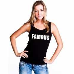 Famous tekst singlet shirt/ tanktop zwart dames