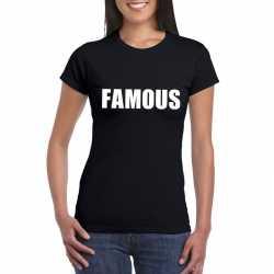 Famous tekst t shirt zwart dames