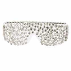 Feest bril zilveren steentjes