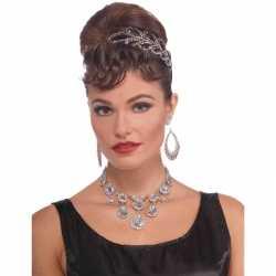 Feest/verkleed ketting zilver diamanten dames