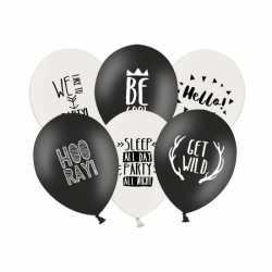 Feestballonnen zwart wit 6 stuks