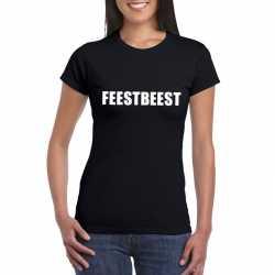 Feestbeest tekst t shirt zwart dames