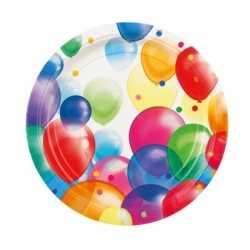 Feestbordjes ballonnen opdruk karton 23cm 8st