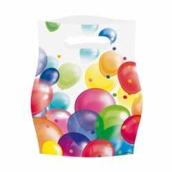 Feestzakjes ballonnenopdruk plastic 16x23cm 8st