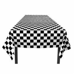 Finish tafelkleed zwart/wit geblokt 130 bij 180