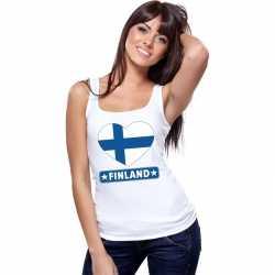Finland hart vlag singlet shirt/ tanktop wit dames