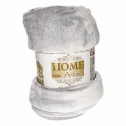 Flanellen deken/plaid lichtgrijs 150 bij 200