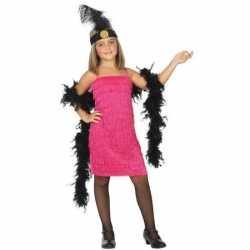 Flapper franje verkleed kostuum/jurkje roze meisjes