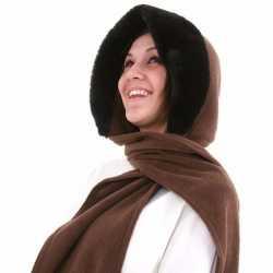Fleece capuchon sjaal nepbont donkerbruin dames