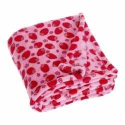 Fleece deken aardbeien design 75 bij 100