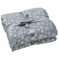 Fleece deken grijs sneeuwvlokken print 130 bij 150