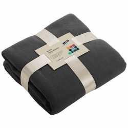 Fleece deken/plaid donkergrijs 130 bij 170