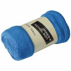 Fleece deken/plaid kobaltblauw 120 bij 160
