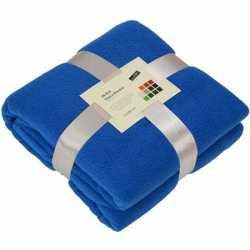 Fleece deken/plaid kobaltblauw 130 bij 170