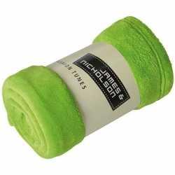 Fleece deken/plaid limegroen 120 bij 160