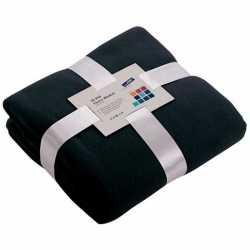 Fleece deken/plaid marineblauw 130 bij 170