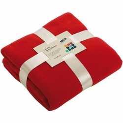 Fleece deken/plaid rood 130 bij 170
