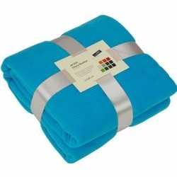 Fleece deken/plaid turquoise 130 bij 170