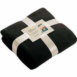 Fleece deken/plaid zwart 130 bij 170