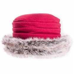 Fleece muts/hoed nepbont rood dames