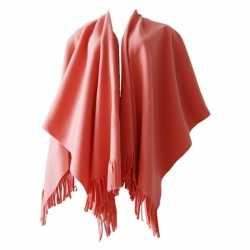 Fleece poncho perzik kleur