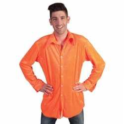 Fluwelen oranje overhemd heren