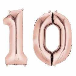 Folie ballon cijfer 10 rose goud