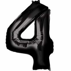 Folie ballon cijfer 4 zwart