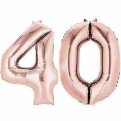 Folie ballon cijfer 40 rose goud