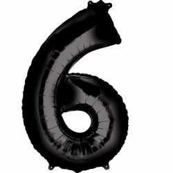 Folie ballon cijfer 6 zwart